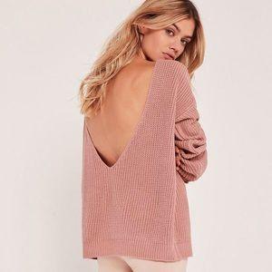 Open back V neck sweater jumper in pink size S/M